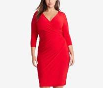 Ralph Lauren Plus Size Shirred Jersey Dress, Orient Red