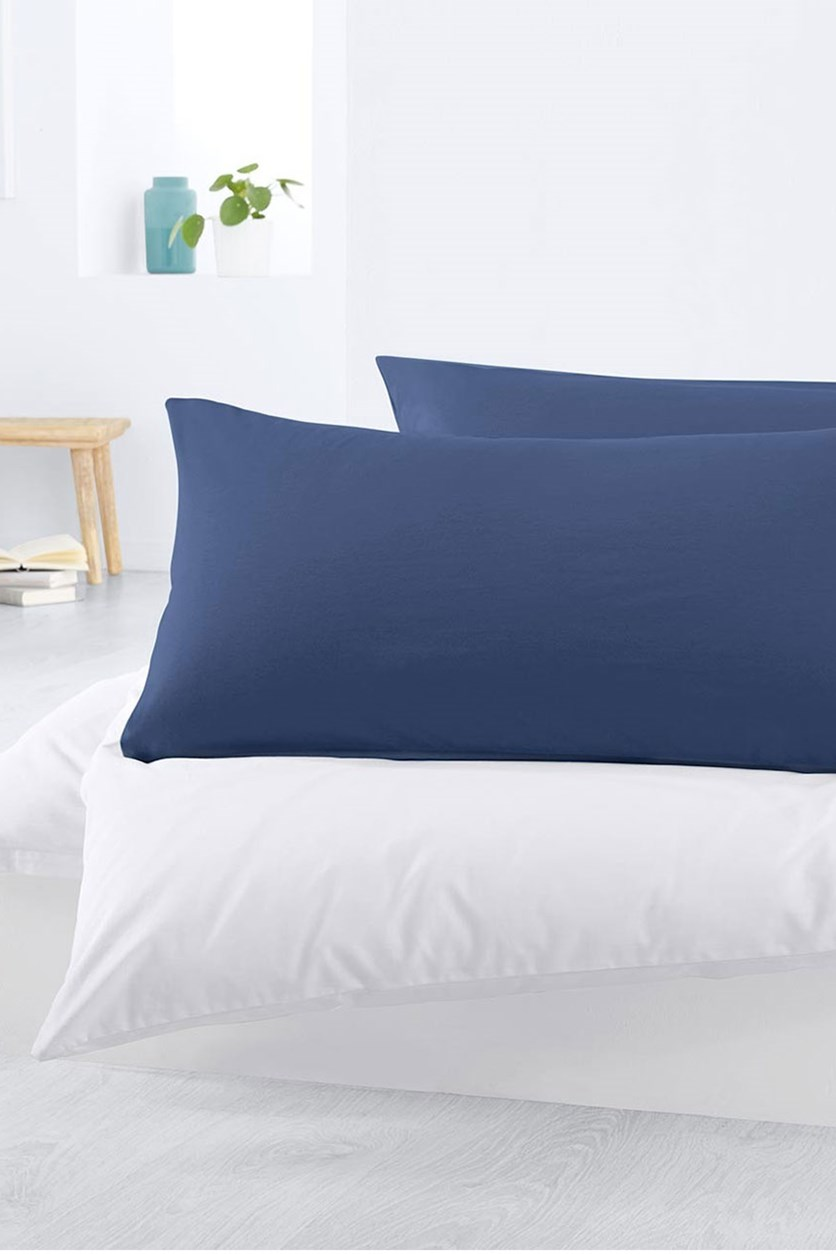Jersey Pillowcase Set of 2, 80 x 40 cm, Dark Blue