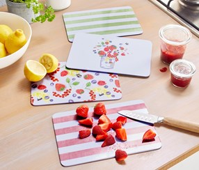 Cutting Board Set of 4, Green/Pink/Red/Fruit