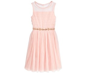 My Michelle Girl's Illusion Dress, Blush