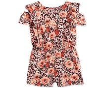 Guess Girl's Floral-Animal-Print Off-The-Shoulder Romper, Pink/Black