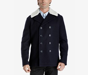 Michael Kors Men's Fleece-Collar Pea Coat, Office Navy