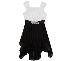 Rare Editions Big Girls Dress, Black/White