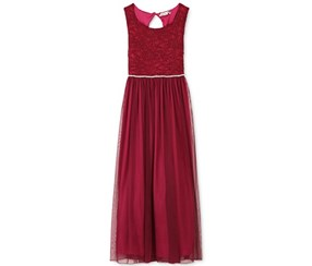 Speechless Girl's Glitter Lace Maxi Dress, Maroon
