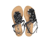 Bebe Girl's Floral Applique Sandals, Black