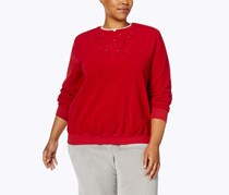 Alfred Dunner Plus Size Embroidered Sweater, Red