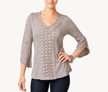 Women Crochet-Trim Bell-Sleeve, Grey