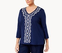 Alfred Dunner Plus Size Gypsy Moon Collection Embroidered Top, Navy