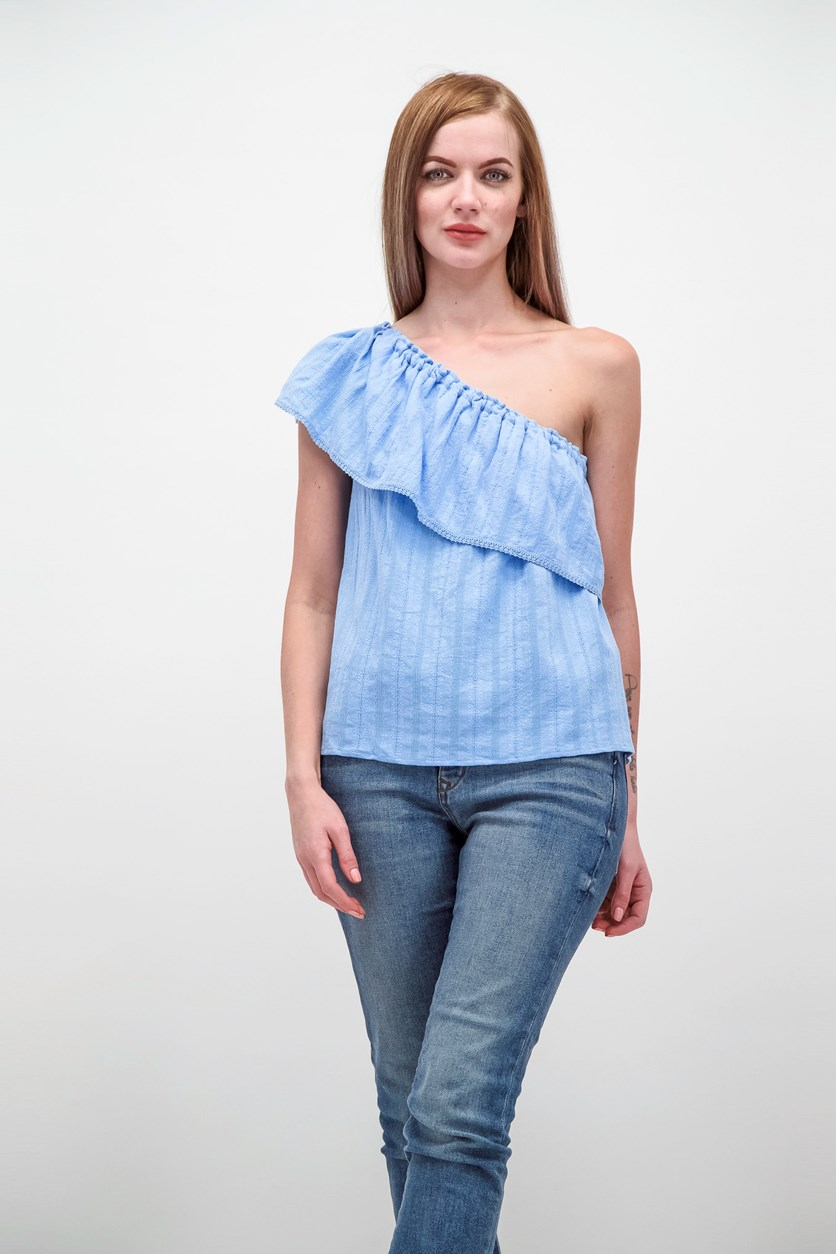 Women's One Shoulder Top, Sky Blue