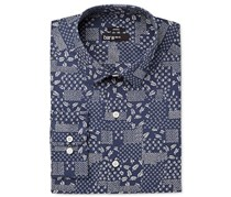 Bar III Men's Slim-Fit Stretch Navy Patchwork Print Dress Shirt, Navy