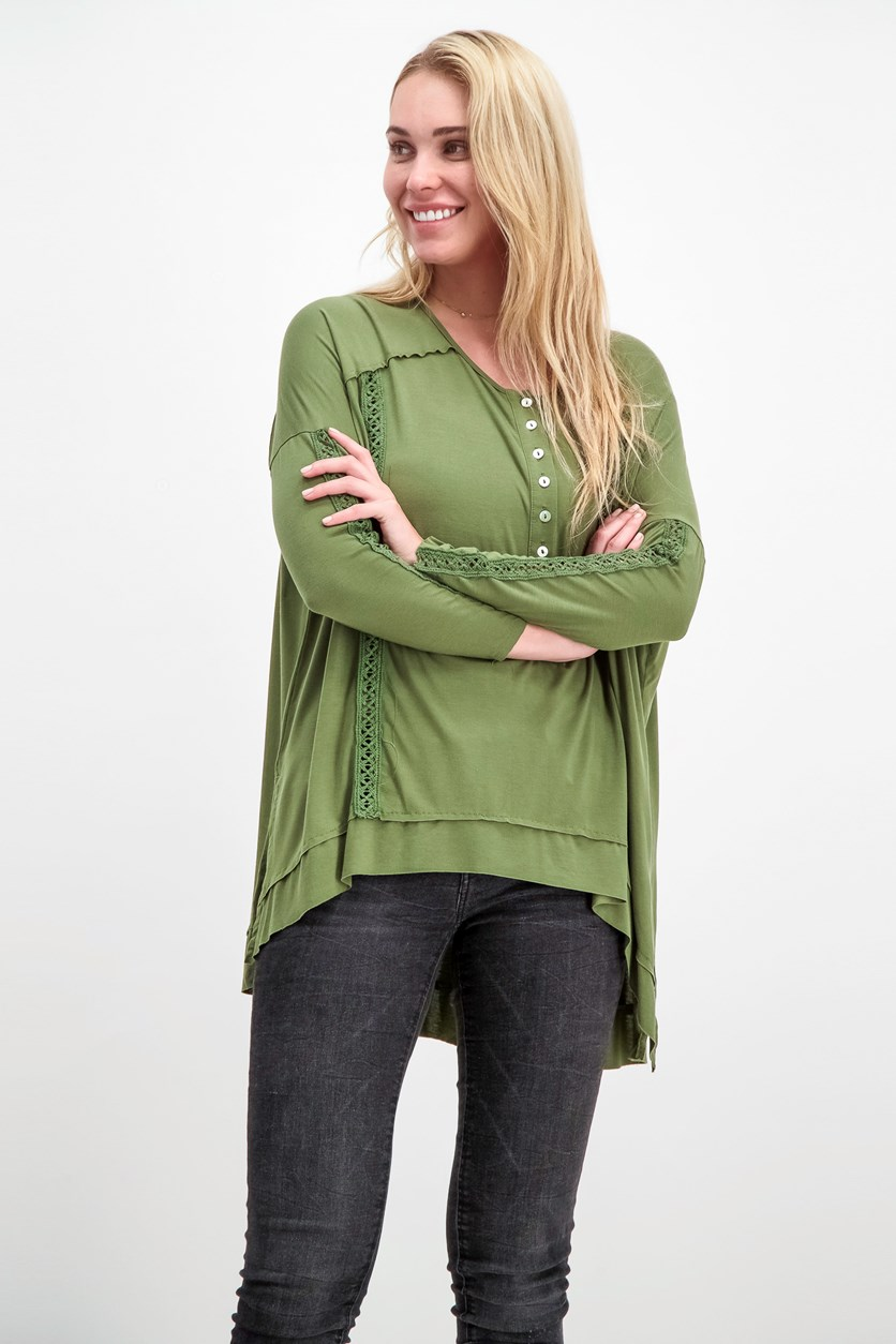 Women's High Low Blouse, Olive