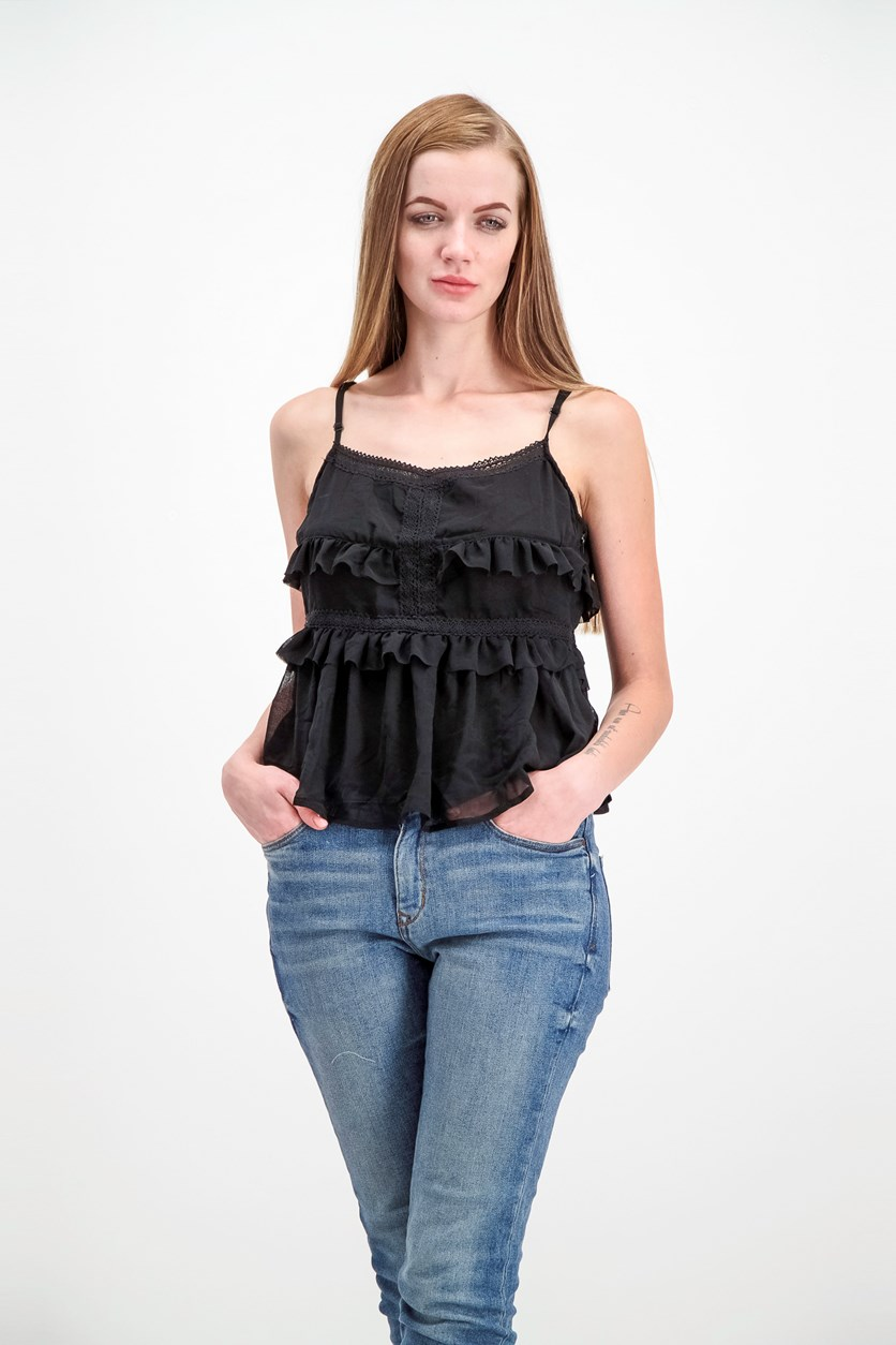 Women's Ruffle Details Top, Black
