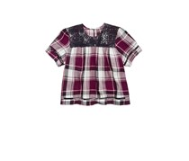 Tinsey Plaid Lace Peasant Top, Burgundy