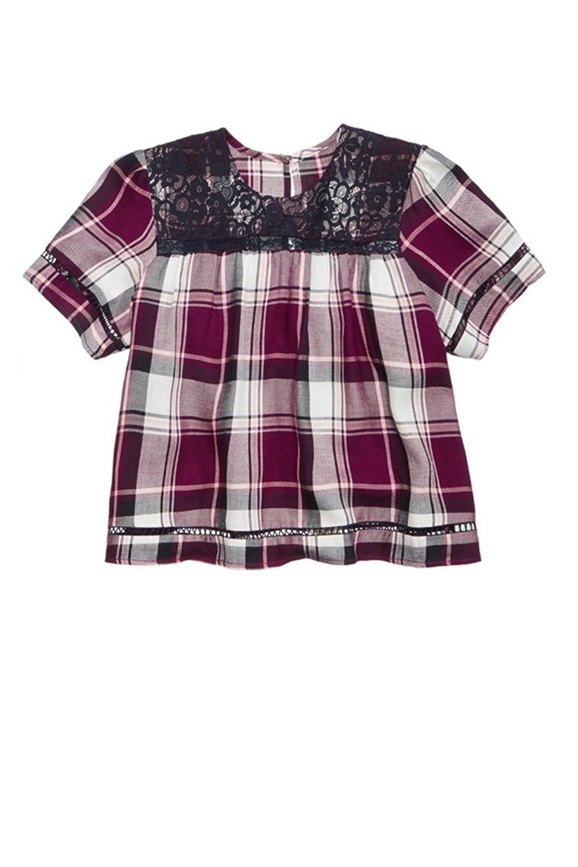 Plaid Lace Peasant Top, Burgundy