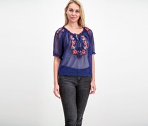 Romeo & Juliet Couture  Women's Embroidered Floral Top, Navy