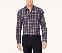 Ryan Seacrest Men's Plaid Sport Shirt, Navy/Camel