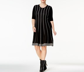 Ny Collection Plus Size Fit & Flare Dress, Black