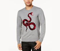 Inc International Concepts Men's Intarsia Knit Snake Sweater, Grey