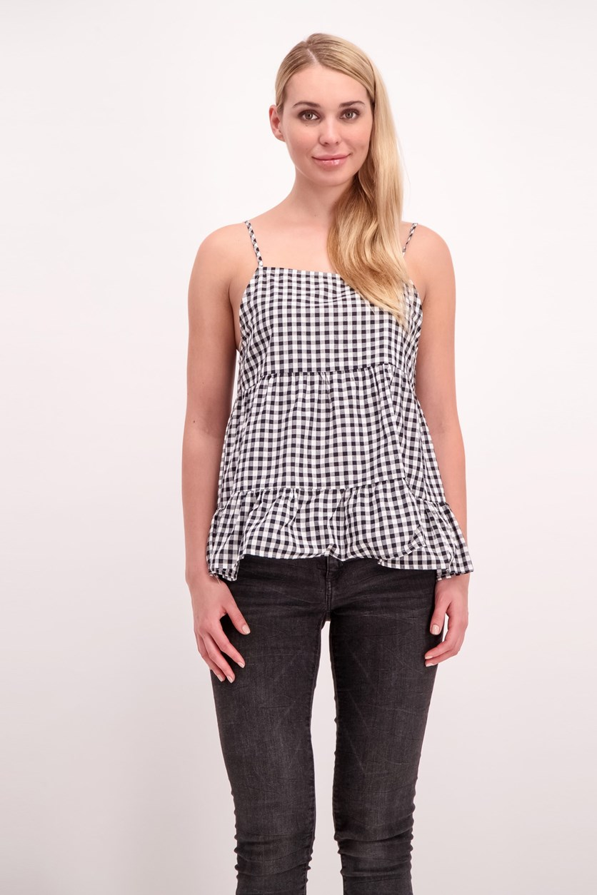 Gingham Top, Black/White