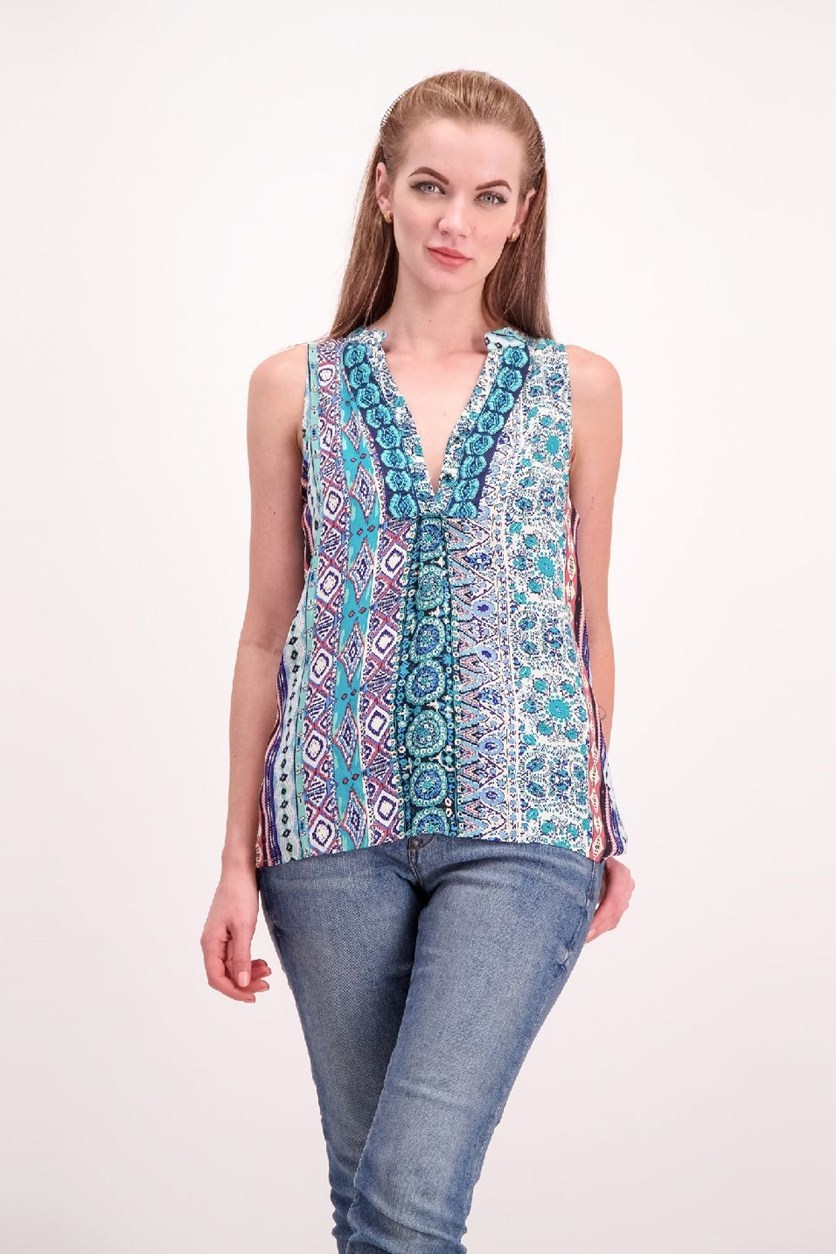 Printed Top, Turquoise Combo