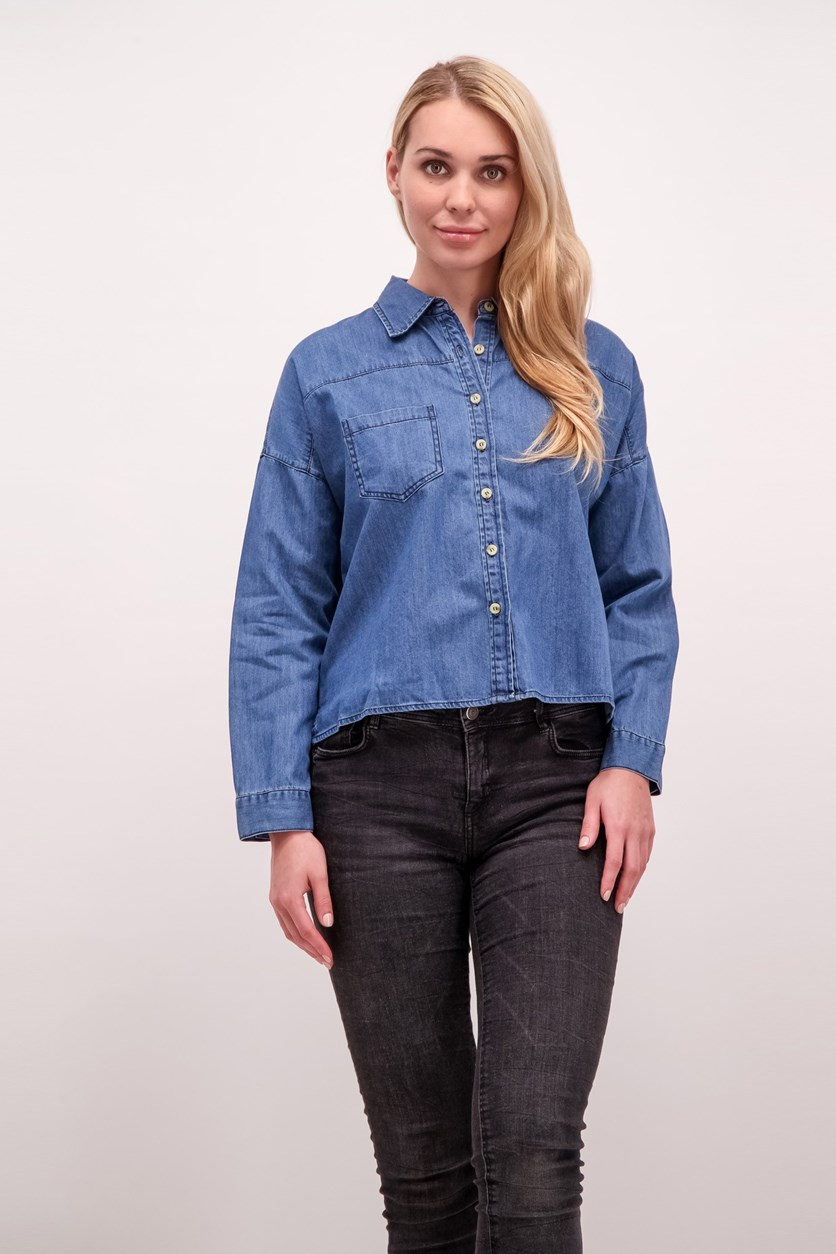 Crop Denim Shirt, Blue