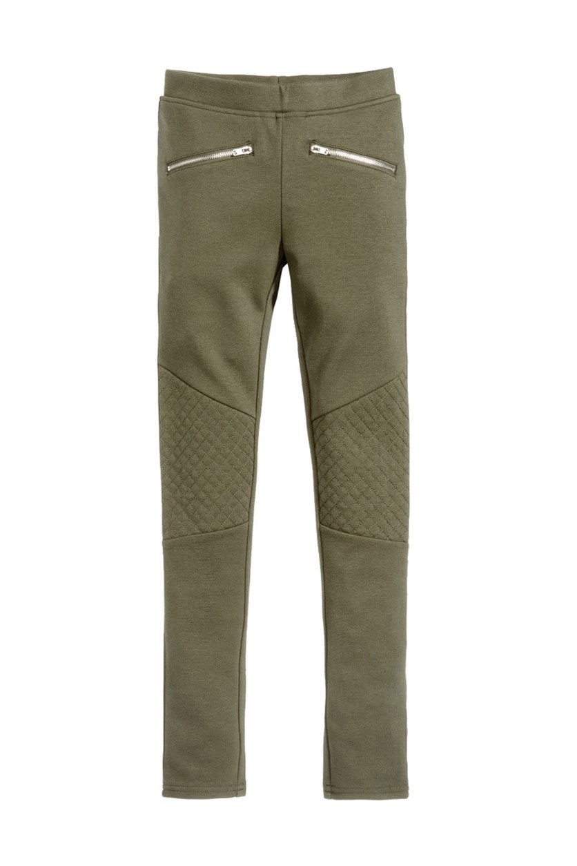 Stitched Knee Pants, Olive
