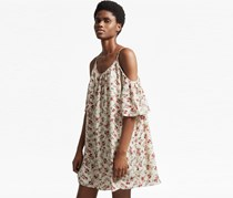 French Connection Womens Floral Dress, Beige Combo