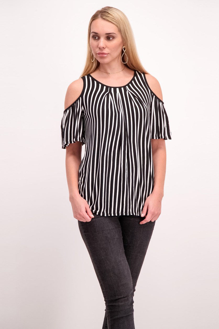Cold Shoulder Striped Knit Top, Black/White