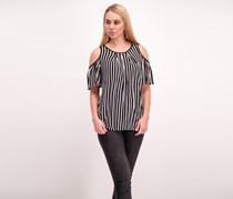 Max Studio Cold Shoulder Striped Knit Top, Black/White