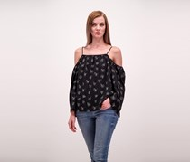 Vince Camuto Printed Cold-Shoulder Top, Rich Black