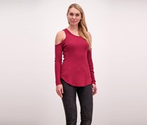 Bobi Thermal Cold Shoulder Top, Burgundy