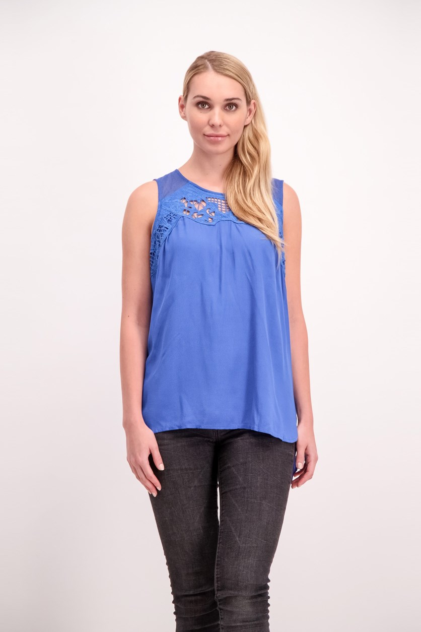 Cutouts Top, Capri Blue
