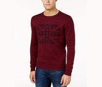 Ben Sherman Men's Union Jack Jacquard Sweater, Wine