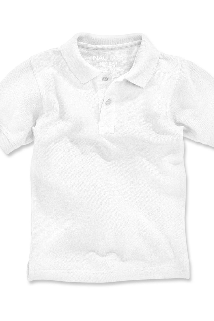 Boys Short Sleeve Pique Polo, White
