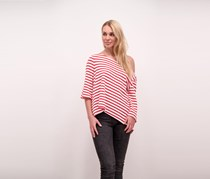 Free People Cannes Striped Boxy Top, Red