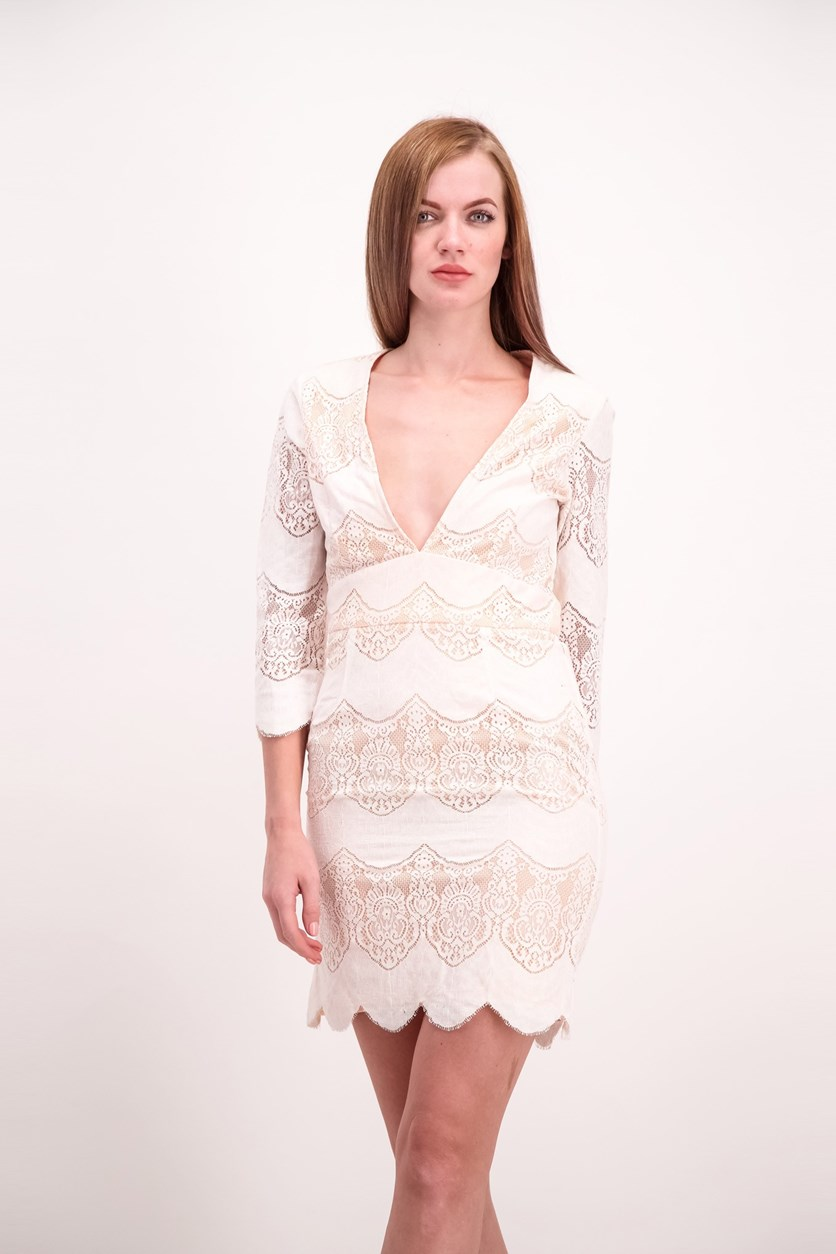 OML Womens Lace Dress, White/Blush