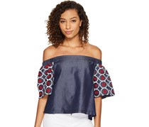 Romeo & Juliet Couture Short Sleeve Off Shoulder Embroidered Top, Dark Chambray