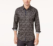 Ryan Seacrest Distinction Men's Woven Shirt, Black/Grey