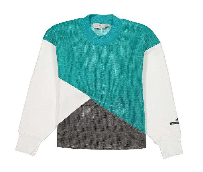 Adidas Women Long Sleeve Sweaters, White/Teal/Gray