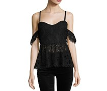 Foxiedox Darby Cold-Shoulder Lace Top, Black