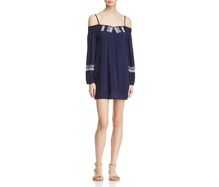 Womens Embroidered Pleated Casual Dress, Navy