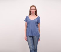 James Perse Deep V-Neck Tee, Blue