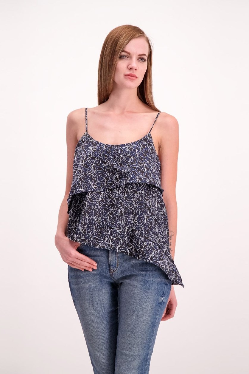 Charlton Printed Asymmetrical Tank Top, Navy/Black