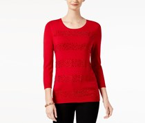 Charter Club Beaded-Stripe Sweater, New Red Amore