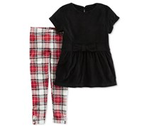 Carters Baby Girl 2-Pc. Velour Top Plaid Leggings, Black