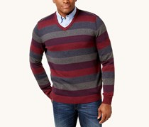 Club Room Men's Striped Knit Sweater, Red Plum