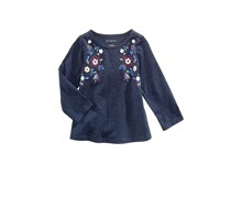 First Impressions Floral-Print Cotton T-Shirt, Midnight Sky Heather