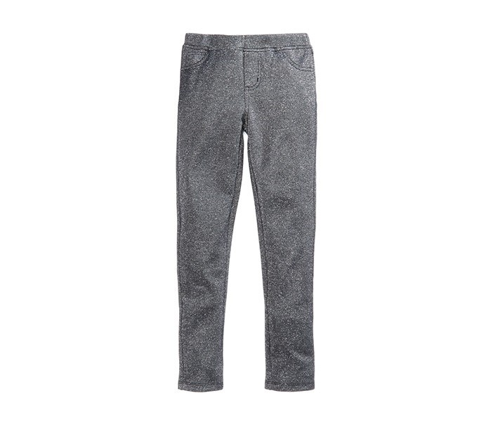 Skinny-Fit Ponte Knit Metallic Pants, Grey