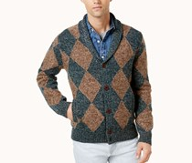 Tommy Hilfiger Men's Shamus Shawl-Collar Cardigan Sweater, Brown/Green