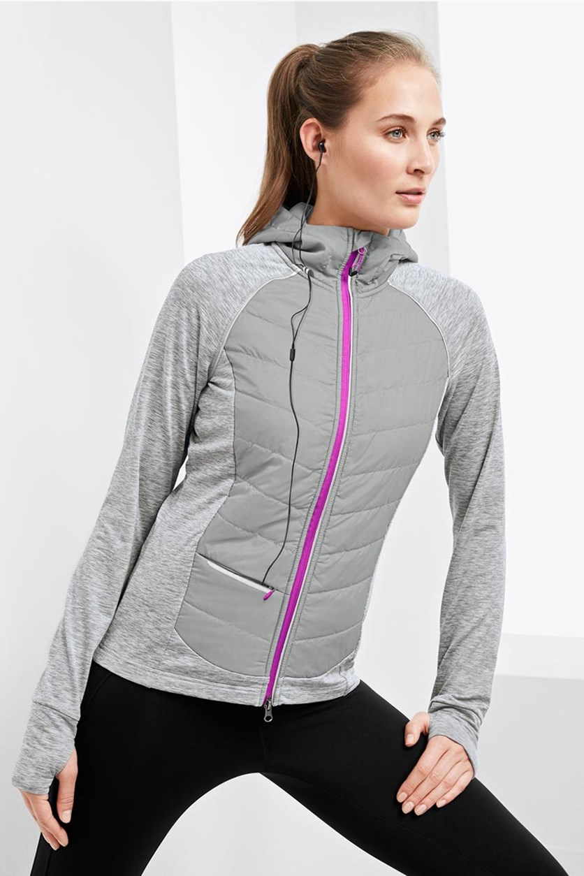 Women's Running Jacket, Heather Grey